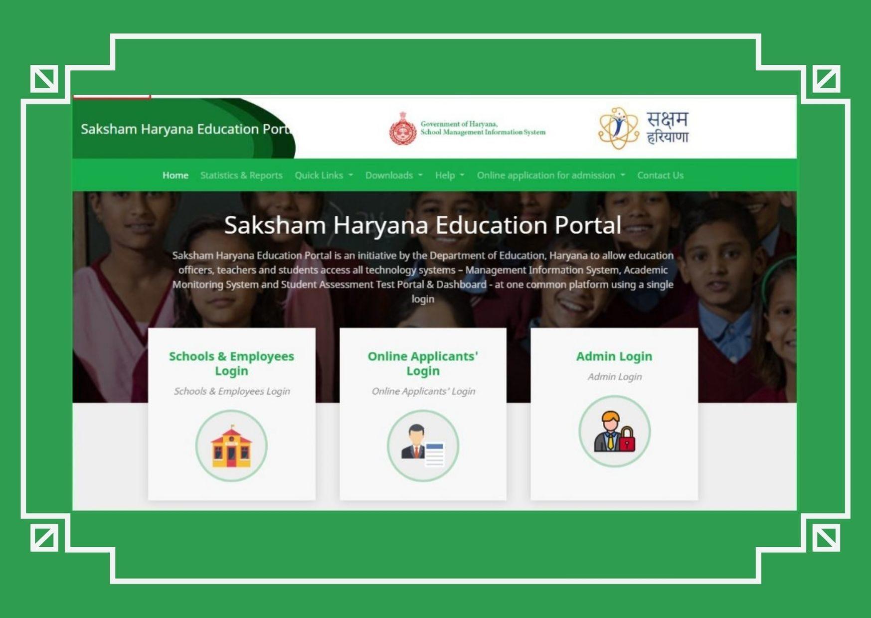 MIS Portal Haryana Dse Login Page | Saksham Haryana Education hryedumis.gov.in